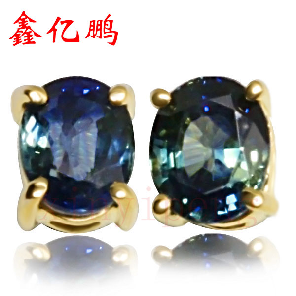18 k gold inlaid natural sapphire studs earrings