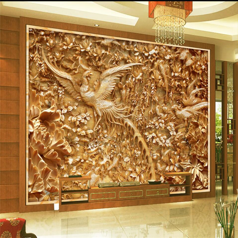 Wellyu Hundred Birds Towards The Phoenix Wood Carving Tv Background Wall Custom Large Mural Green Wallpaper Papel De Parede Papel De Parede De Paredetv Background Aliexpress