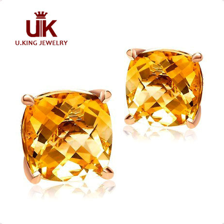 Elegant Rose Gold Yellow Topaz Stud Earring Square Stone Earrings For Women Brinco Te12