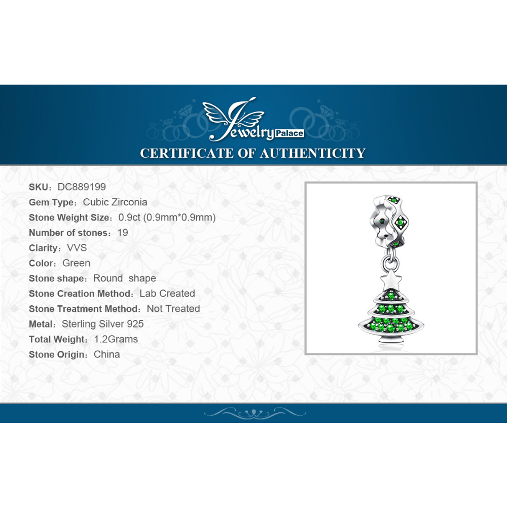 JewelryPalace Holiday Time Christmas Tree Green 0.9ct Cubic Zirconia 925 Sterling Silver Charm Beads For Women 2018 New Hot Sale