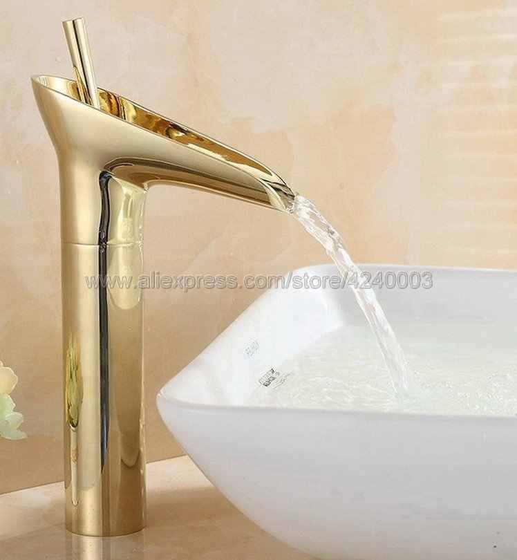 黄金の滝流域のシンクの蛇口真鍮滝流域ミキサーシングルハンドルのミキサータップの浴室の滝 Kgf057