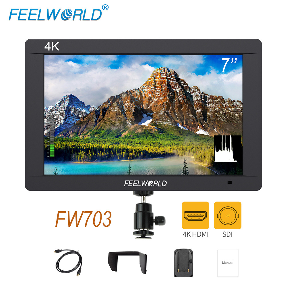 Feelworld FW703 3G SDI 4K HDMI DSLR Monitor 7 Inch LCD IPS Full HD 1920x1200 Portable On Camera Field Monitor for Cameras Rig feelworld f7s 7 inch sdi 4k hdmi on camera dslr field monitor full hd 1920x1200 aluminum housing small lcd ips external display