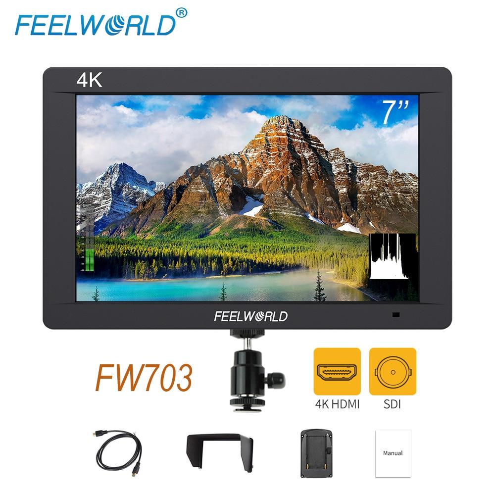 Feelworld FW703 3g SDI 4 k HDMI DSLR Moniteur 7 pouce LCD IPS Full HD 1920x1200 Portable sur Caméra Champ Moniteur pour Caméras Rig
