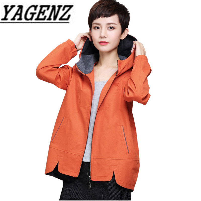 2019 New Fashion Casual Women's Short Windbreaker Coat Loose Long Sleeve Ms. Hooded Outerwear Large Size Female   Trench   Coat 5XL
