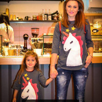 Family Matching Unicorn Clothes Print Couple T Shirts Spring Autumn Mother Daughter Kids Toddler Baby Girls