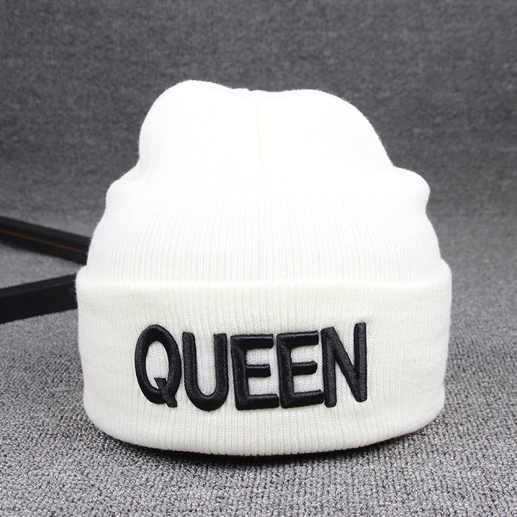 Beanies Cap KING QUEEN Letter Embroidery Warm Winter Hat Knitted Cap Hip Hop Men Women Lovers Street Dance Bonnet Skullies Black 28
