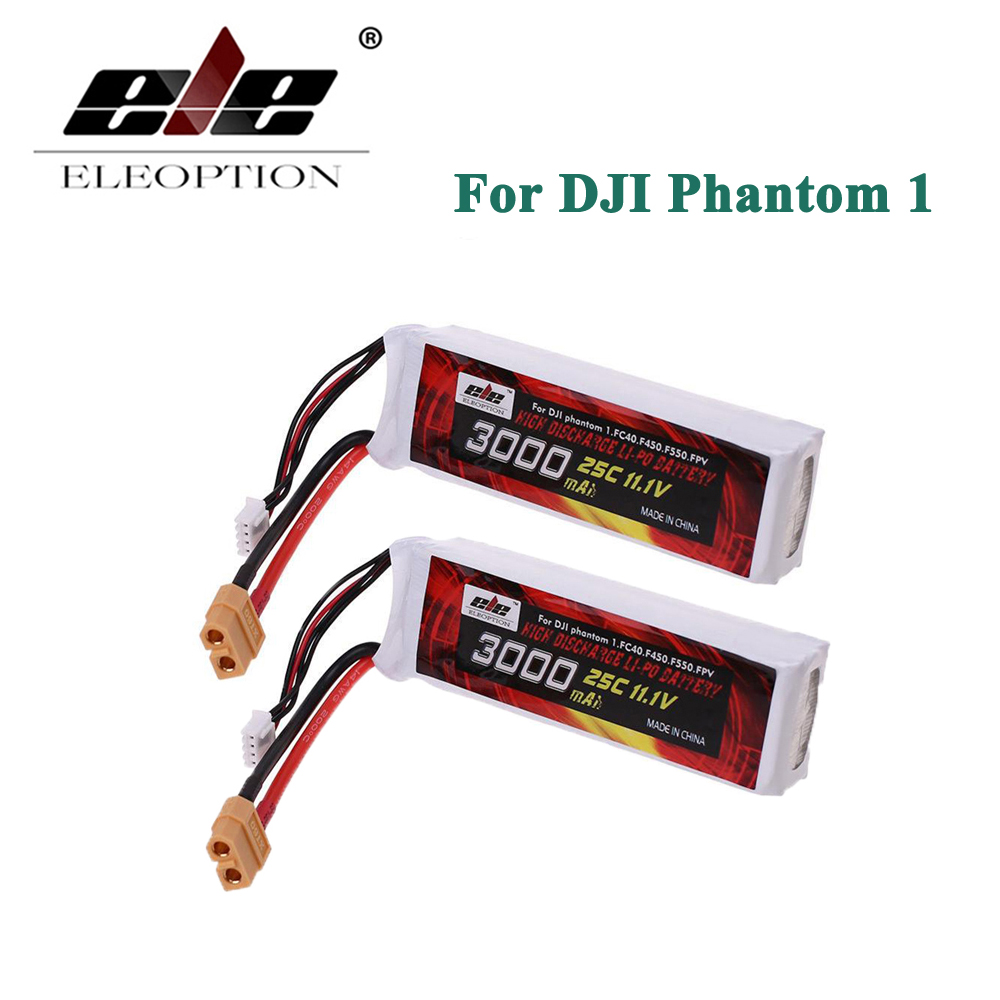 ELEOPTION 2PCS Lipo Battery 11.1V 3000mah 25C XT60 Plug For DJI Phantom 1 FC40 DJI Flame Wheel F450 F550 FPV Quadcopter Li-po for dji phantom s900 s1000 rc quadcopter battery 22 2v 10000mah 6s 30c xt60 plug li polymer lipo battery fpv parts bateria