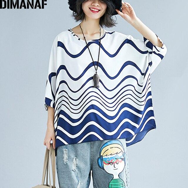 635c4473de6 DIMANAF Women Summer Blouse Shirts Plus Size Loose Female Chiffon Tops  Casual Batwing Print Wave Striped 2018 Oversized Clothing