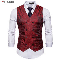 YFFUSHI 2018 Stylish Men Vest Double Breasted Jacquard Vest 8 Buttons Casual Style Slim Fit 6