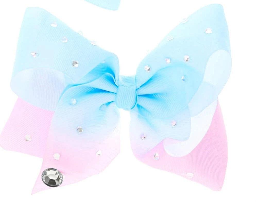 Pastel rhinestone rainbow cheer hair bow