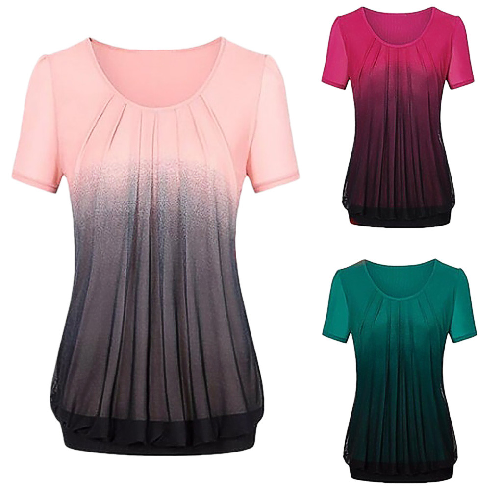 summer t shirt women new arrivals Women Casual Gradient Printed Pleated Plus Size Tribal  T-shirt Tops #8
