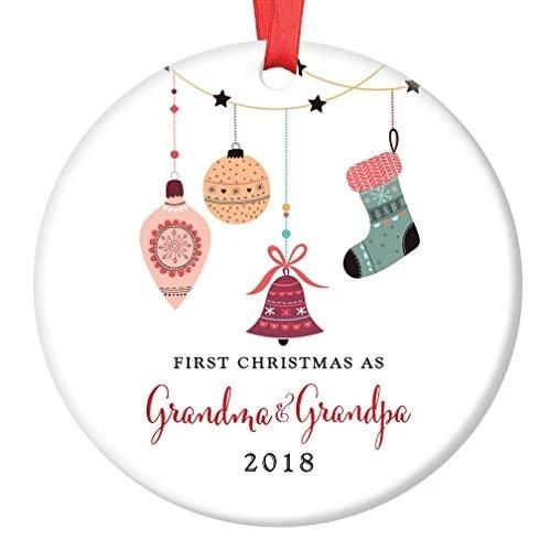 Grandma Grandpa Christmas Ceramics Ornament 2018 First Christmas As Grandmom Grandpop New Grandparents Porcelain Ornament Pendant Drop Ornaments Aliexpress