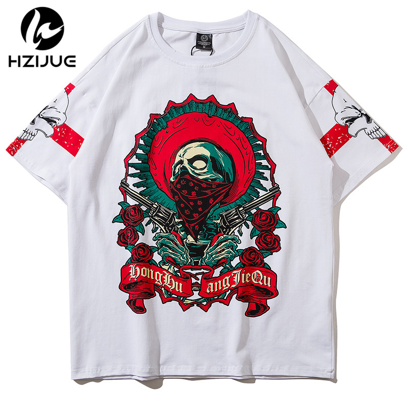 HZIJUE 2018 New Spring Summer T shirts Men Fashion curling short - sleeved Slim stretch Vintage Tees white/black Boy Skate tops