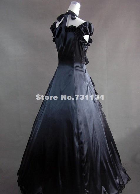 Элегантное и изящное черное платье в готическом стиле, элегантное черное готическое платье в викторианском стиле