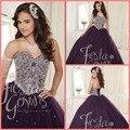 Best selling Quinceanera Vestidos Vestidos de Baile 2016 Frisado De Cristal De Organza Ruffles Vestidos De 16 Años Vestidos Quinceanera Barato