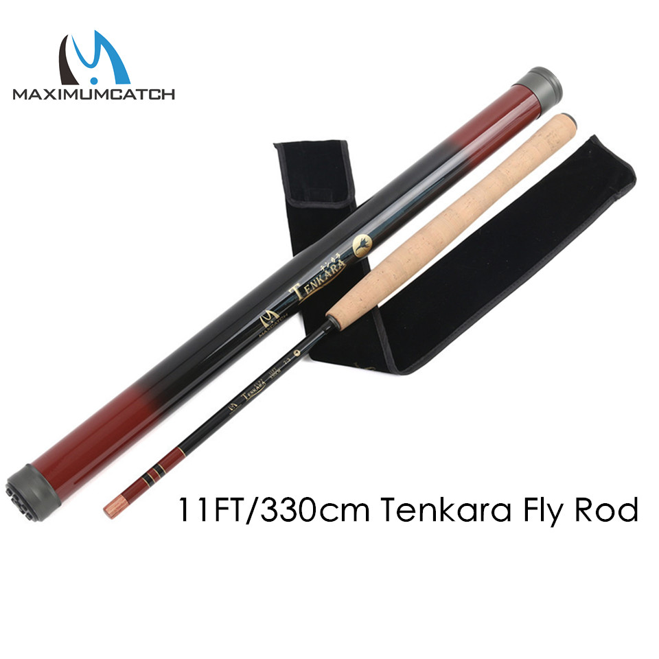 Maximumcatch 11FT/330cm 7:3 Action Tenkara Fly Fishing Rod Graphite Carbon Fiber Telescoping Fishing Pole with Carbon Tube maximumcatch 13ft tenkara fly fishing rod 7 3 action 9 segments super light traditional tenkara fly rod