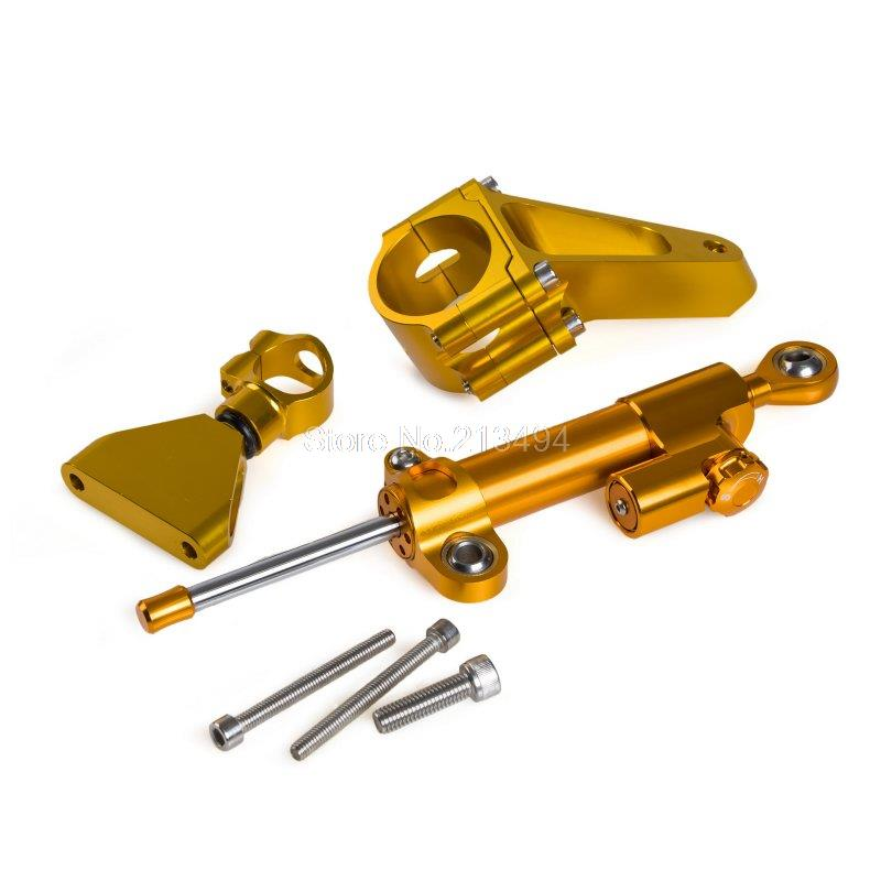 ФОТО 2015 New Adjustable Steering Damper & Mounting Kit For Honda CBR600 F4i 2001-2007 Gold