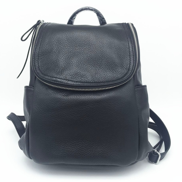 Mulher couro genuíno mochila back pack estilo coreano preto de couro de vaca macia viagem tote ombro sacos de escola para adolescentes meninas