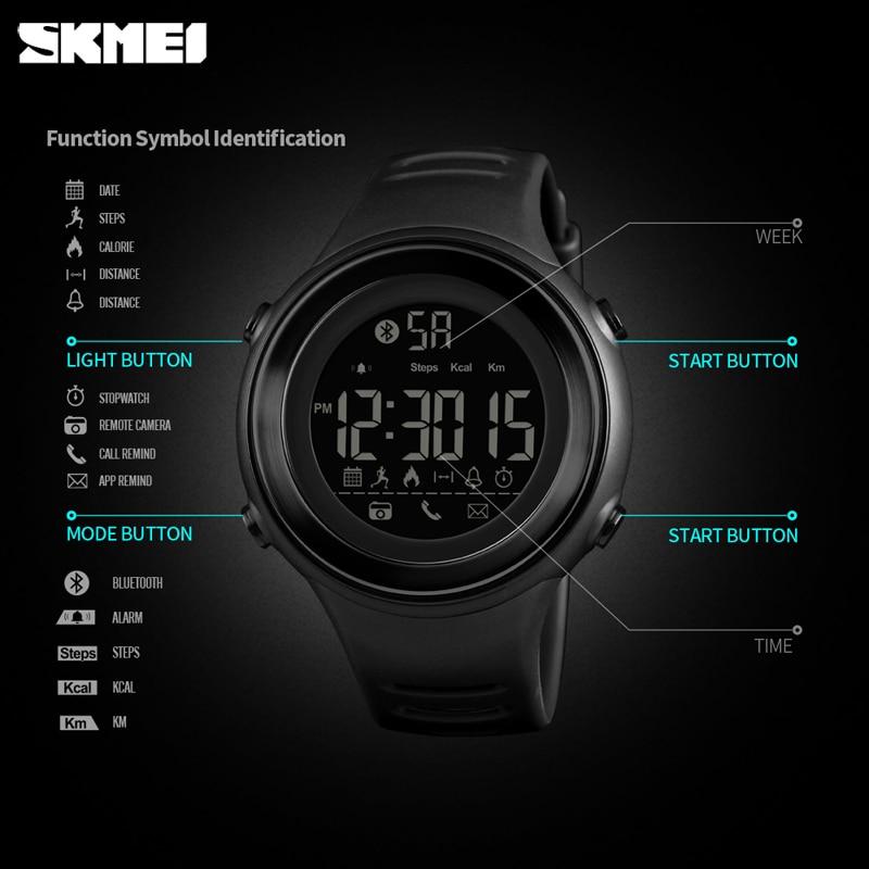 Image 5 - SKMEI Bluetooth Smart Sports Watch Men Fashion Digital Pedometer Calories Fitness Clock Waterproof Wristwatch Relogio MasculinoDigital Watches   -