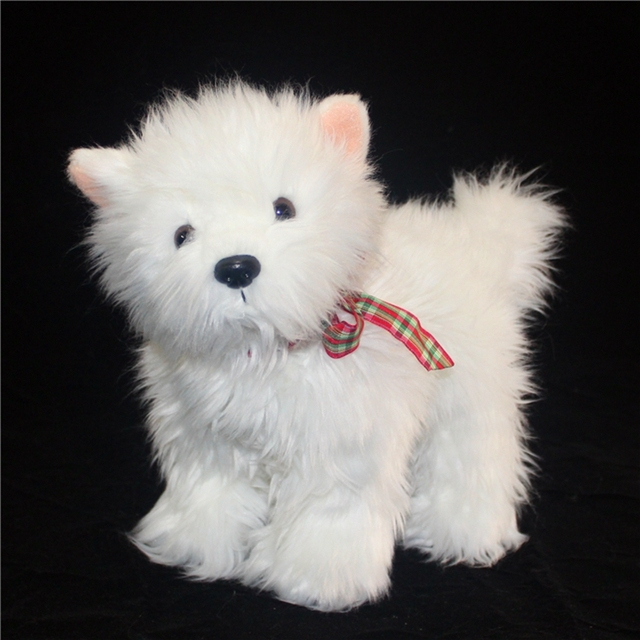 Kawaii White Dog Plush Doll Simulation Animals West Highland White