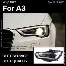 АКД стайлинга автомобилей для A3 фары 2013-2016 обновления S3 все светодиодный фары DRL HID фара ангельский глаз биксеноновые фары аксессуары