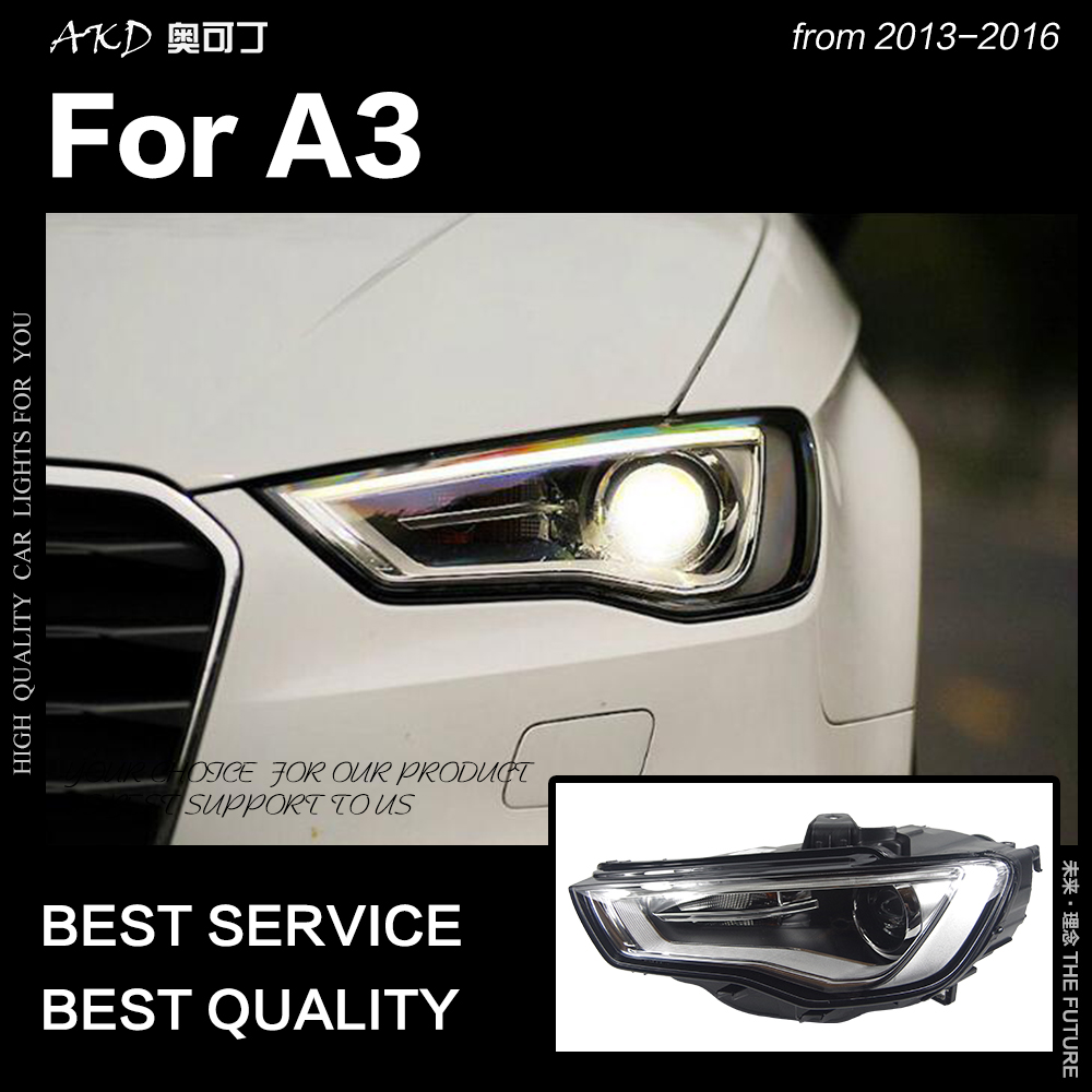 Styling de Carro para A3 AKD Faróis 2013-2016 Atualização S3 Todos Os LED Farol Head Lamp DRL Hid Anjo Olho bi Xenon Feixe Acessórios