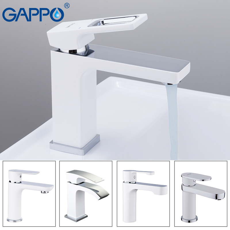 GAPPO basin faucets white brass bathroom basin faucet waterfall faucets mixer water bath sink faucet