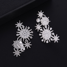 SISCATHY Trendy Geometry Snowflake Cubic Zirconia Earrings Fashion Jewelry American Wedding Party korean for Women