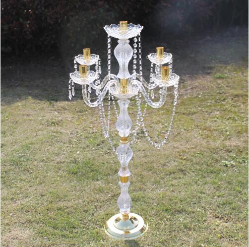 10 Unidades/lotes 5 braços acrílico cristal peça central do casamento flor stand/38 cm diâmetro lustre de casamento/casamento pilar