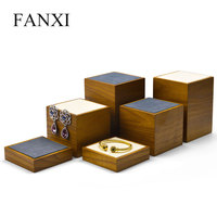 FANXI New Wooden Jewelry Display Stand Set with 3 pcs with Microfiber Ring Earring Bracelet Bangle Display Holder Organizer