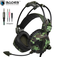 SADES SA-931 PS4 Gaming Headset Stereo Bass Recreation Headphones with Microphones Mic for PC Gamer Cellular Telephones TV Laptop computer Camouflage