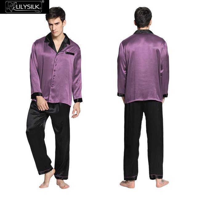 Lilysilk Pijamas Para hombres ropa de Dormir de Seda Pura Chino Tradicional A Night Sleep Wear Violeta de Lujo Invierno Cuidado de La Piel Sensible