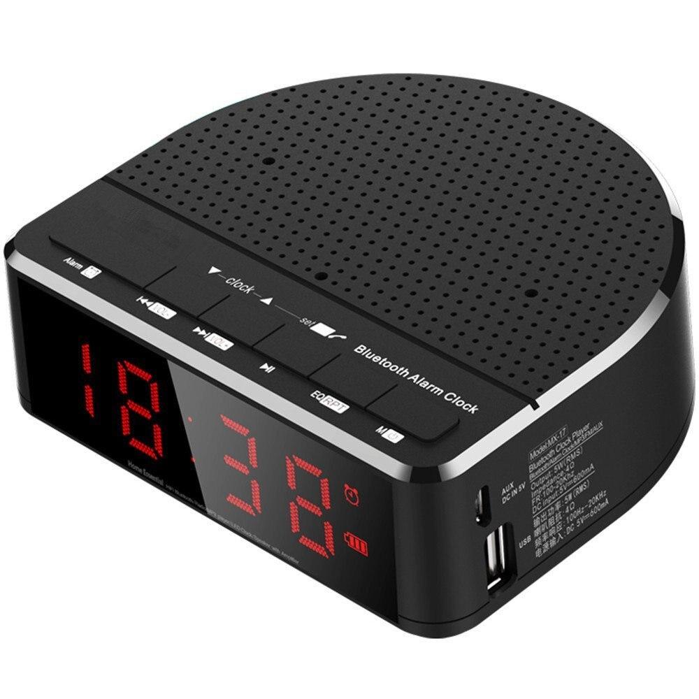 Digital Alarm Clock Radio with Bluetooth Speaker,Red Digit Display with 2 Dimmer,FM radio, USB Port Bedside led Alarm Clock. 5pcs pocket radio 9k portable dsp fm mw sw receiver emergency radio digital alarm clock automatic search radio station y4408