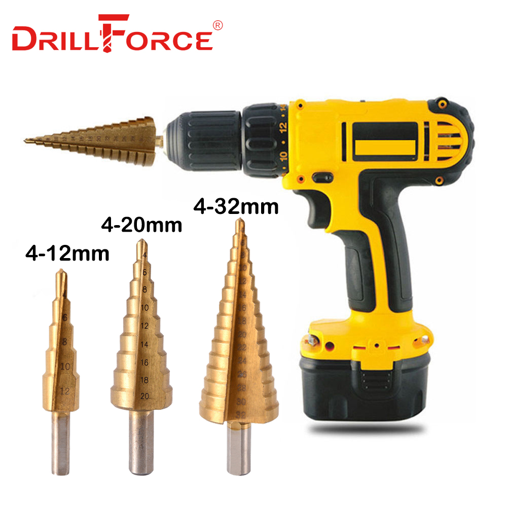 3PCS Step Drill Bits Set Metric Spiral Flute The Pagoda Shape Hole Cutter 4-12/20/32mm HSS Steel Cone Titanium Drill Bit Set3PCS Step Drill Bits Set Metric Spiral Flute The Pagoda Shape Hole Cutter 4-12/20/32mm HSS Steel Cone Titanium Drill Bit Set