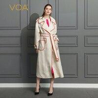 VOA бежевый плюс размер 5XL офисные женские крутые пальто тяжелый шелк военный пояс Тренч Женская верхняя одежда подиумная sobretudo FLH01501
