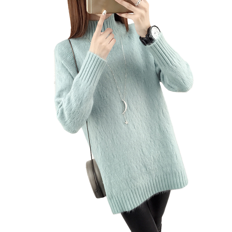 2017 Winter Women long knitted Sweaters warm o-neck Long Sleeve Solid Pullover christmas sweaters Split pull femme hiver jersey