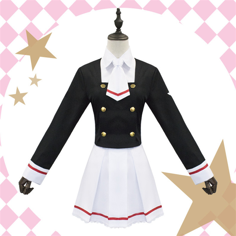 Cardcaptor Sakura Cosplay Costume CLEAR CARD Kinomoto Sakura Li Syaoran Junior High School Uniform Tops Dress Costumes for Girls
