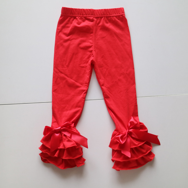 christmas red color winter leggings spandex and cotton ruffle panties children novelty leggings wholesale kid dress