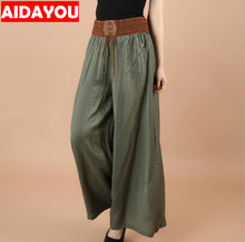 Women's Stretchy Casual Pants Solid Color Belted High Waisted Straight Leg Long Pants for beach Holiday ouc482 недорого