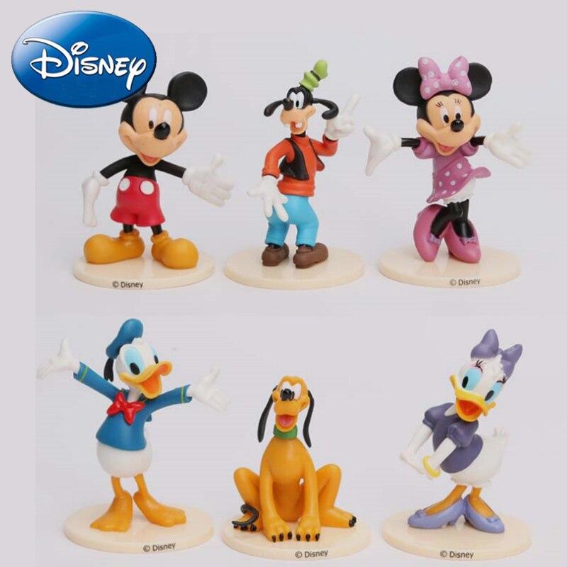Disney 6pcs/set 7-9cm Mickey figures Toys Doll Minnie Figure Mouse Donald Duck Cartoon Childrens Toy Goofy Dog Pluto dog Daisy