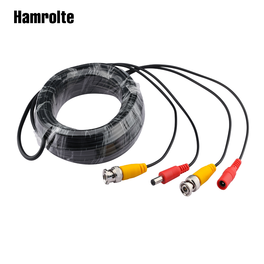 Hamrolte BNC Cable 50m/40m/30m/20m/10m/5m CCTV Power Video BNC+DC Plug Cable For AHD /TVI /Analog CCTV Camera Surveillant System цена