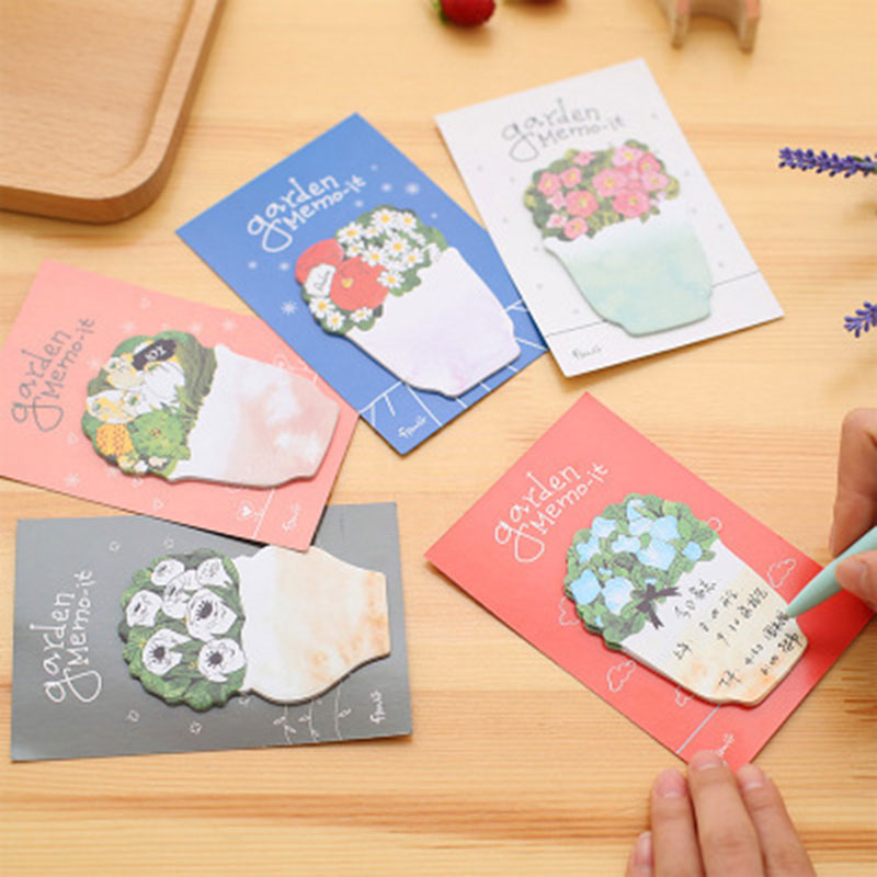 8pc Mix Beautiful Flower Notepad Potted Plant Self-Adhesive Memo Post-It Sticker Cartoon Massage Scrapbooking Garden Mark Paper