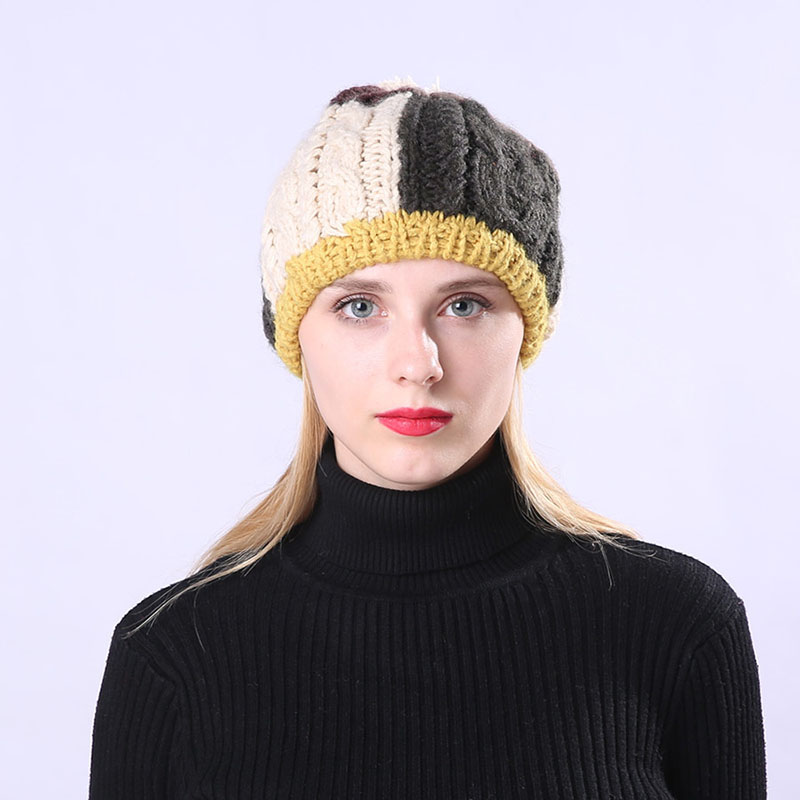 Women Warm Ball Cap PomPoms Color Patchwork Thick Knitted   Skullies     Beanies   Hat -MX8