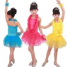 Girl Sequined Jazz Dance Dress Ballroom Samba Party perforamance Ballet Dress Competition Dancewear Kids Stage wear