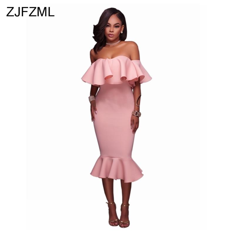 Zjfzml 2018 nueva moda vestido del vendaje del rosa del hombro ...