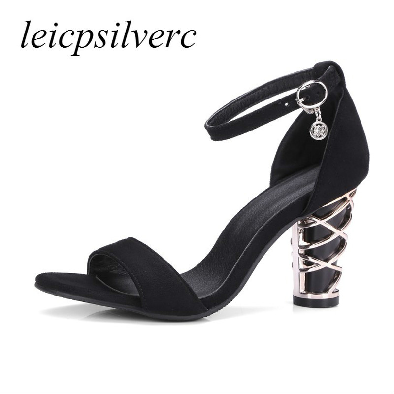 Women Sandals High Heels Peep Toe Buckle Fretwork Heel ...