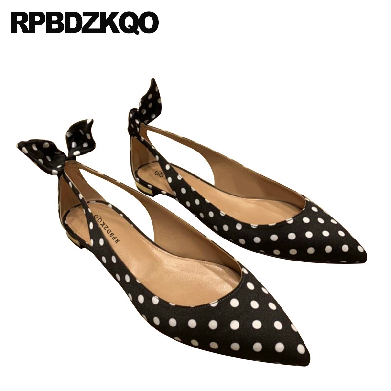 Zapatos Y Negros Sandalias Lunares Gamuza Puntiagudos China Mujer Blancos De Hermosas Planos nOPk0w
