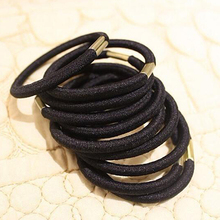 Hot 10Pcs Girls Black Elastic Hair Ties Band Rope Ponytail Holder Bracelets Scrunchie 77IF
