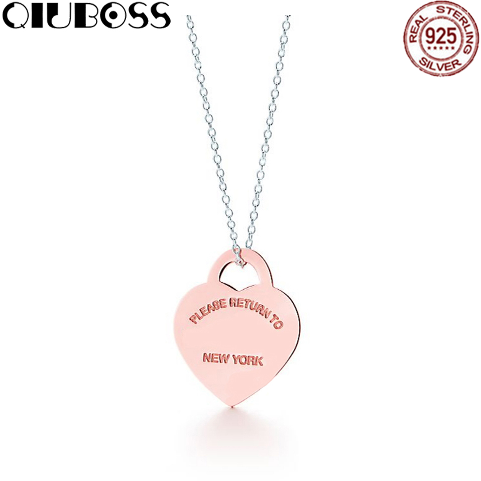 QIUBOSS TIFF Heart Shaped Lock Rose Gold Pendant Necklace in Sterling Silver Fashionable Clavicle Necklace Gifts Accessories yldz001 fashionable moon shaped rhinestone inlaid pendant necklace golden transparent