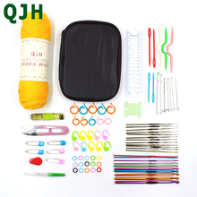 QJH Crochet Hook Set 84pcs/set With Yarn Knitting Needles Sewing Tools Full Knit Gauge Scissors Stitch Holders Craft